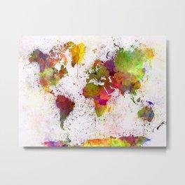 World map in watercolor  Metal Print