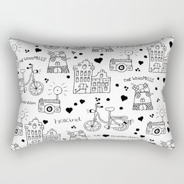 Hello Amsterdam Dutch Hipster travel icons bike and windmill Rectangular Pillow