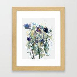 Iris Garden watercolor painting Framed Art Print