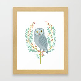 OWL WITH BERRIES Framed Art Print