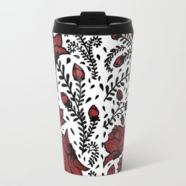 Red Flower Garden Travel Mug