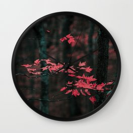 Red Leaves 3 Wall Clock