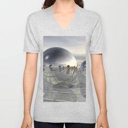 Reflecting 3D Spheres Unisex V-Neck