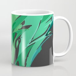 Dark Green Abstract Waves Coffee Mug