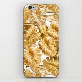Gold Leaves Aloha Tropical Foliage Pattern iPhone Skin