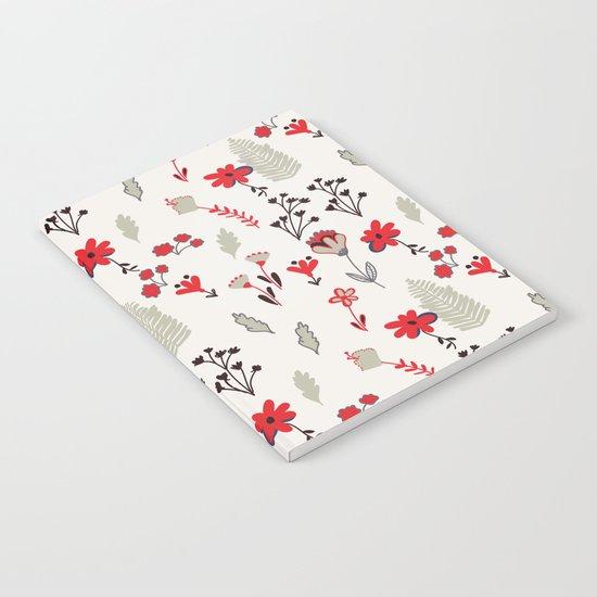 Red Vintage Floral Pattern Notebook