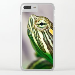 Small red-ear turtle Clear iPhone Case