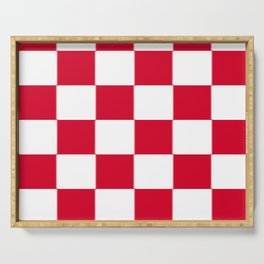 Red and white zig zag checkered artwork Serving Tray