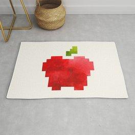Red Macintosh Apple Watercolor Painting Pixel Digital Art Geometric Fruit Vector Rug