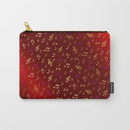 gold and silver, purple music notes in red metal shiny Carry-All Pouch