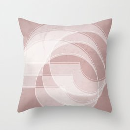 Spacial Orbiting Spiral in Shell Pink Throw Pillow