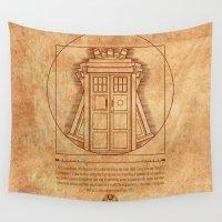 tardis Wall Tapestries featuring Vitruvian Tardis by BomDesignz