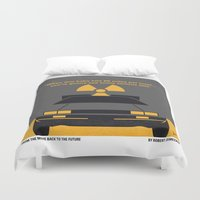 delorean Duvet Covers featuring No183 My Back to the Future minimal movie poster by Chungkong