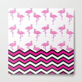 Pink Zebra Chevron with Flamingos Metal Print