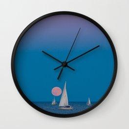 Moonrise over Lake Michigan Wall Clock