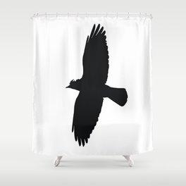 Jackdaw In Flight Silhouette Shower Curtain