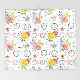 Bike and bouquets pattern Throw Blanket