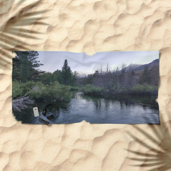 Serenity Exists at Twilight Beach Towel