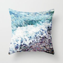 Waves lap at the shore - painting - art gift - abstract Throw Pillow