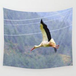 Stork In Flight Wall Tapestry