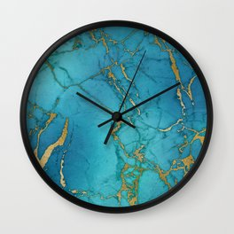 Blue and gold marble stone print Wall Clock