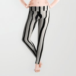 Vertical Black and White Watercolor Stripes Leggings