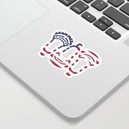 Lacrosse US Flag Head Trio Sticker