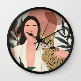 Wild cat woman Wall Clock