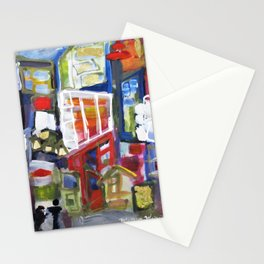 Walking Street Abstract City Scape Blue Red Yellow White Geometric Stationery Cards