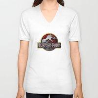 jurassic park V-neck T-shirts featuring JURASSIC PARK by BeautyArtGalery