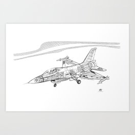F16 Cutaway Freehand Sketch Art Print