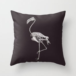 Flamingo Skeleton: Bird Halloween Animal Anatomy Throw Pillow