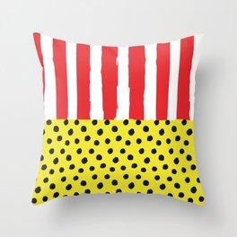 Stripes & Polka Red Yellow Throw Pillow