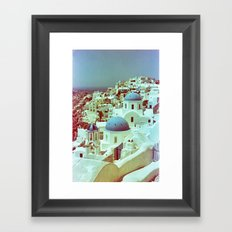 Santorini in Raspberry and Blue: shot using Revolog 600nm special effects film Framed Art Print