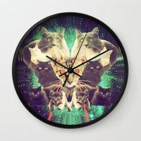 saga Wall Clocks featuring Galactic Cats Saga 1 by Carolina Nino