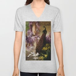 Peacock, White Doves, Yellow Iris & Purple Flowering Wisteria in a Garden landscape floral painting Unisex V-Neck