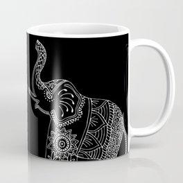 Boho Elephant Doodle in Black and White, Zentangle, Mehndi Style. Coffee Mug