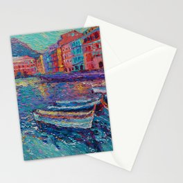 Sunset in Port of Vernazza - modern palette knife sea landscape of Italy by Adriana Dziuba Stationery Cards