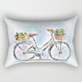 Spring Bicycle Watercolor with Flowers Rectangular Pillow