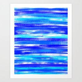 Blue and White Pastel Stripe Pattern Modern Abstract Art Print
