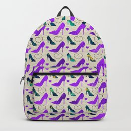 High Heels Purple glitter, marble and hearts Backpack
