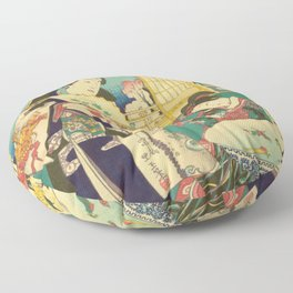 Spring Outing In A Villa Diptych #1 by Toyohara Kunichika Floor Pillow