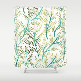 Green & Gold Branches Shower Curtain