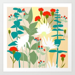 Illustration, modern flowers, bold colors,red, turquoise, white,green. Art Print