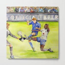 Ledley King tackles Robben Metal Print