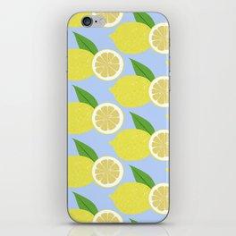 Lemon fruits on blue iPhone Skin