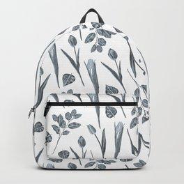 Modern botanical gray mauve teal floral pattern Backpack