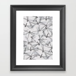 watercolor dragonflies silver Framed Art Print
