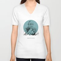 picasso V-neck T-shirts featuring Pablo Picasso by Mark McKenny