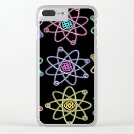 Gold and Silver Atomic Structure Pattern Clear iPhone Case